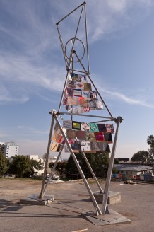 "Mark di Suvero and others, ""Artists' Tower of Protest,"" 2012, Corner of Sunset and Holloway, West Hollywood"